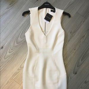 TopShop V neck white bodycon dress